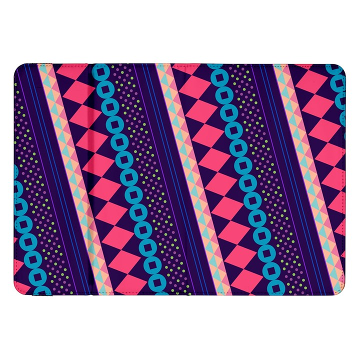 Purple And Pink Retro Geometric Pattern Samsung Galaxy Tab 8.9  P7300 Flip Case