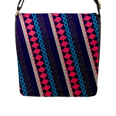 Purple And Pink Retro Geometric Pattern Flap Messenger Bag (L)