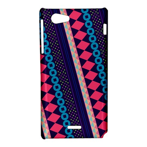 Purple And Pink Retro Geometric Pattern Sony Xperia J