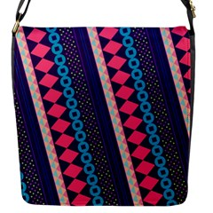 Purple And Pink Retro Geometric Pattern Flap Messenger Bag (S)