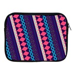 Purple And Pink Retro Geometric Pattern Apple iPad 2/3/4 Zipper Cases Front