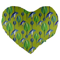 Tropical Floral Pattern Large 19  Premium Heart Shape Cushions