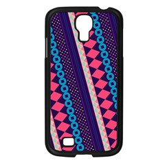 Purple And Pink Retro Geometric Pattern Samsung Galaxy S4 I9500/ I9505 Case (black)
