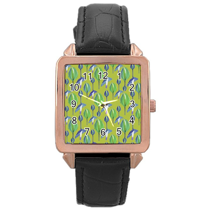 Tropical Floral Pattern Rose Gold Leather Watch