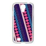 Purple And Pink Retro Geometric Pattern Samsung GALAXY S4 I9500/ I9505 Case (White) Front