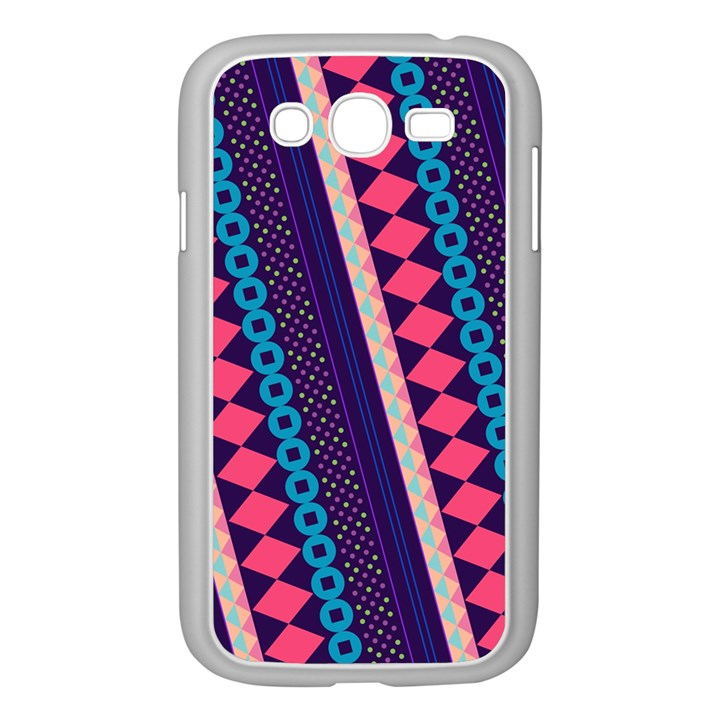 Purple And Pink Retro Geometric Pattern Samsung Galaxy Grand DUOS I9082 Case (White)