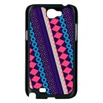 Purple And Pink Retro Geometric Pattern Samsung Galaxy Note 2 Case (Black) Front