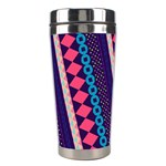 Purple And Pink Retro Geometric Pattern Stainless Steel Travel Tumblers Left