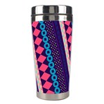 Purple And Pink Retro Geometric Pattern Stainless Steel Travel Tumblers Right