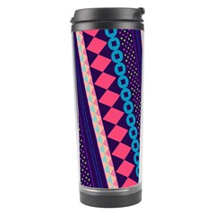 Purple And Pink Retro Geometric Pattern Travel Tumbler