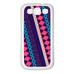 Purple And Pink Retro Geometric Pattern Samsung Galaxy S3 Back Case (white)