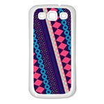 Purple And Pink Retro Geometric Pattern Samsung Galaxy S3 Back Case (White) Front