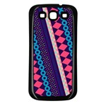 Purple And Pink Retro Geometric Pattern Samsung Galaxy S3 Back Case (Black) Front