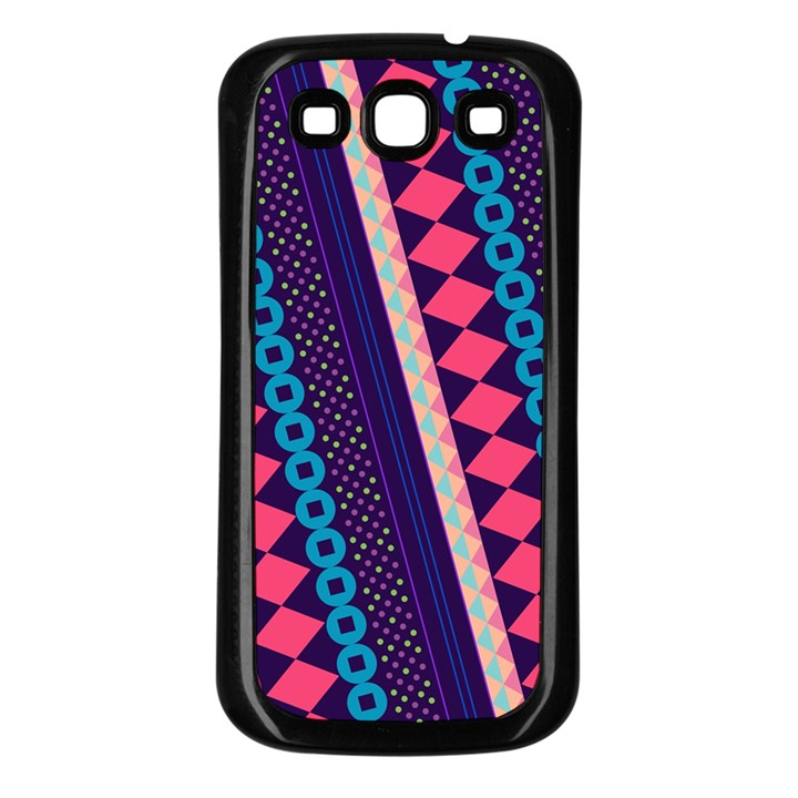 Purple And Pink Retro Geometric Pattern Samsung Galaxy S3 Back Case (Black)
