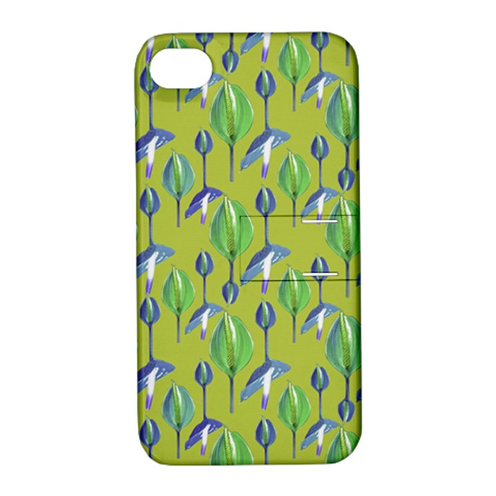 Tropical Floral Pattern Apple iPhone 4/4S Hardshell Case with Stand