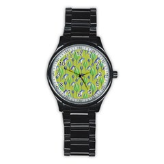 Tropical Floral Pattern Stainless Steel Round Watch
