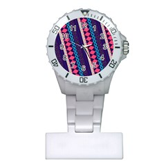Purple And Pink Retro Geometric Pattern Plastic Nurses Watch