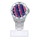 Purple And Pink Retro Geometric Pattern Plastic Nurses Watch Front