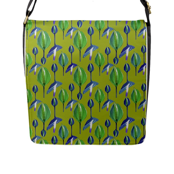 Tropical Floral Pattern Flap Messenger Bag (L)