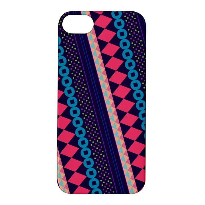 Purple And Pink Retro Geometric Pattern Apple iPhone 5S/ SE Hardshell Case