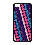 Purple And Pink Retro Geometric Pattern Apple iPhone 5C Seamless Case (Black) Front