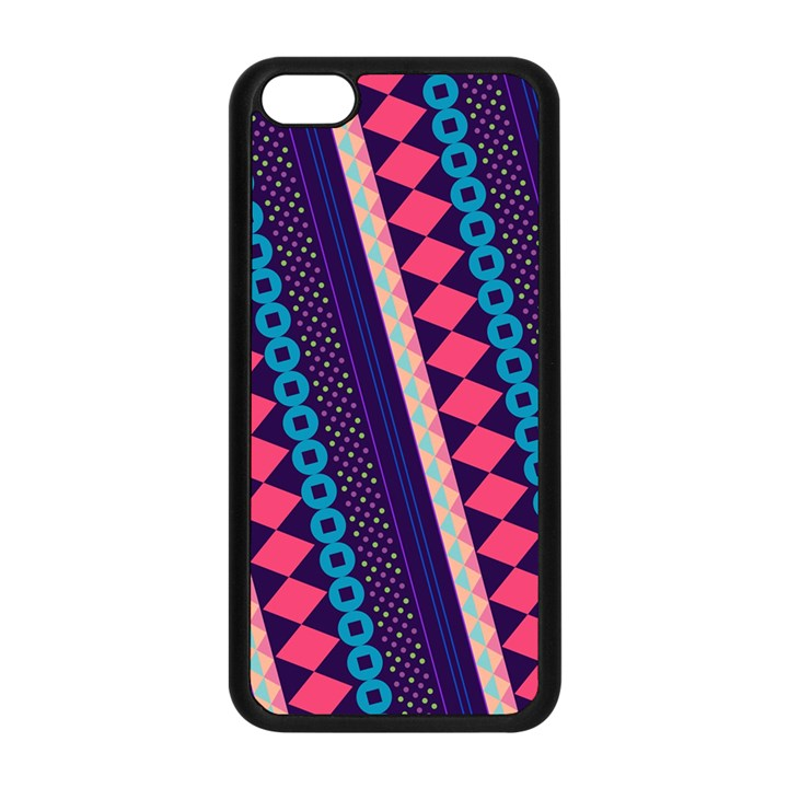 Purple And Pink Retro Geometric Pattern Apple iPhone 5C Seamless Case (Black)