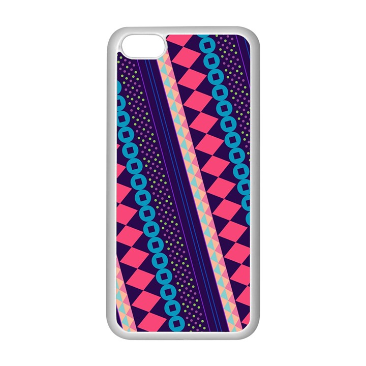 Purple And Pink Retro Geometric Pattern Apple iPhone 5C Seamless Case (White)