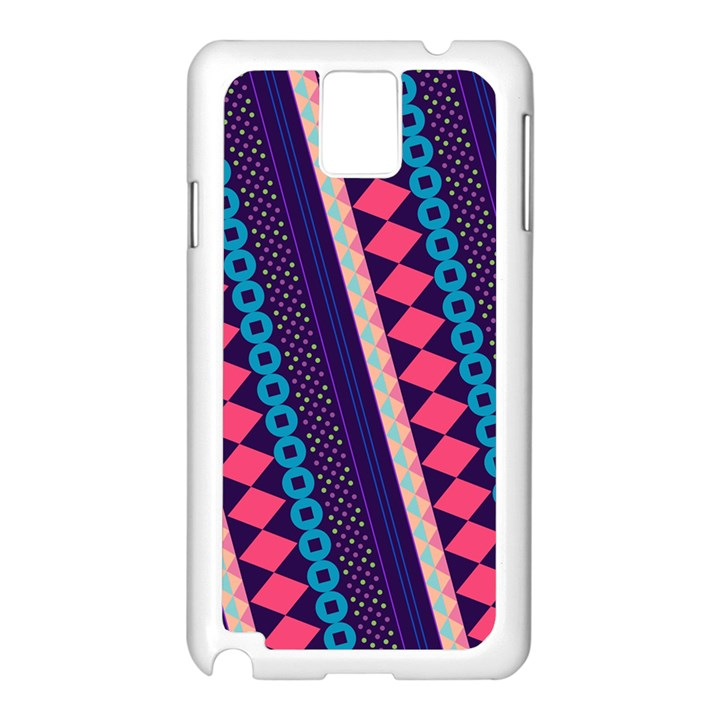Purple And Pink Retro Geometric Pattern Samsung Galaxy Note 3 N9005 Case (White)