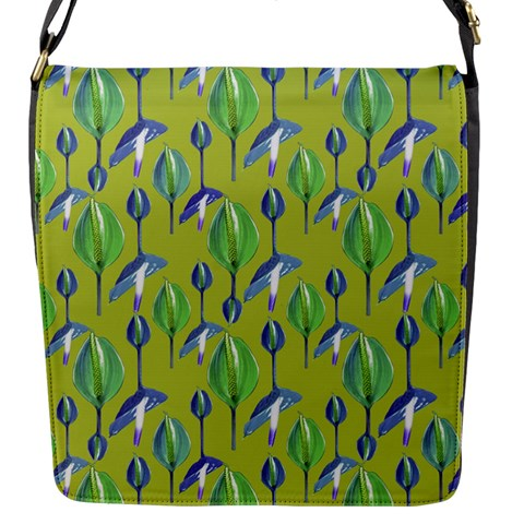Tropical Floral Pattern Flap Messenger Bag (S)