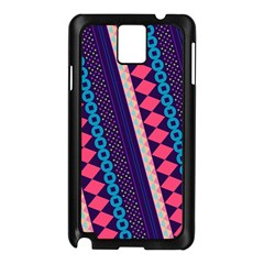 Purple And Pink Retro Geometric Pattern Samsung Galaxy Note 3 N9005 Case (Black)