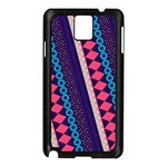 Purple And Pink Retro Geometric Pattern Samsung Galaxy Note 3 N9005 Case (Black) Front