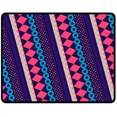 Purple And Pink Retro Geometric Pattern Double Sided Fleece Blanket (medium)