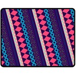 Purple And Pink Retro Geometric Pattern Double Sided Fleece Blanket (Medium)  60 x50 Blanket Back