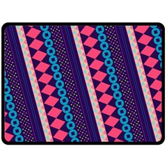 Purple And Pink Retro Geometric Pattern Double Sided Fleece Blanket (Large)