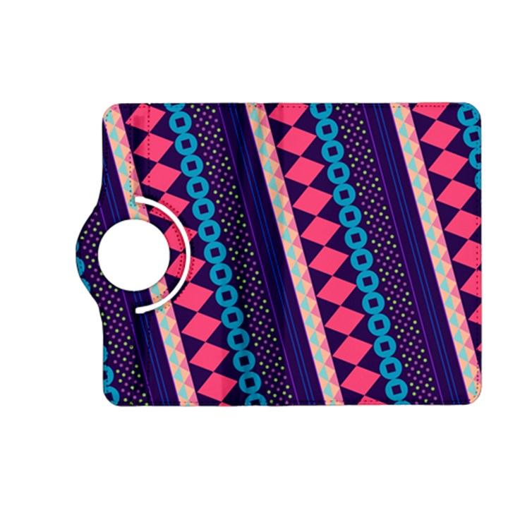 Purple And Pink Retro Geometric Pattern Kindle Fire HD (2013) Flip 360 Case