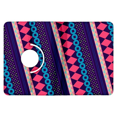 Purple And Pink Retro Geometric Pattern Kindle Fire HDX Flip 360 Case