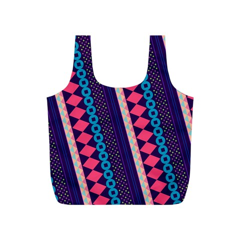 Purple And Pink Retro Geometric Pattern Full Print Recycle Bags (S)