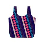 Purple And Pink Retro Geometric Pattern Full Print Recycle Bags (S)  Back