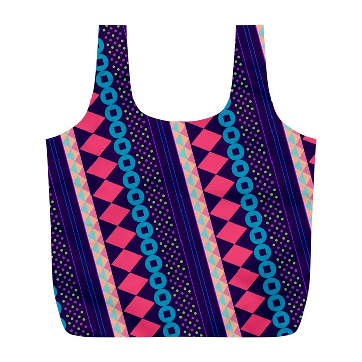 Purple And Pink Retro Geometric Pattern Full Print Recycle Bags (L)