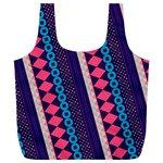 Purple And Pink Retro Geometric Pattern Full Print Recycle Bags (L)  Back