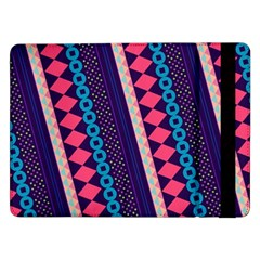Purple And Pink Retro Geometric Pattern Samsung Galaxy Tab Pro 12 2  Flip Case