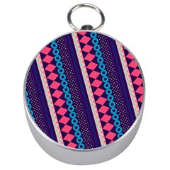 Purple And Pink Retro Geometric Pattern Silver Compasses