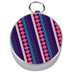 Purple And Pink Retro Geometric Pattern Silver Compasses Front