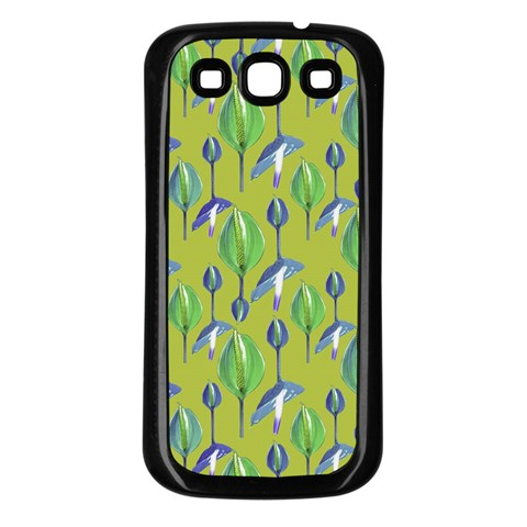 Tropical Floral Pattern Samsung Galaxy S3 Back Case (Black)