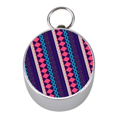 Purple And Pink Retro Geometric Pattern Mini Silver Compasses