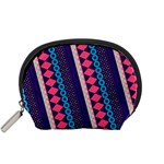 Purple And Pink Retro Geometric Pattern Accessory Pouches (Small)  Front