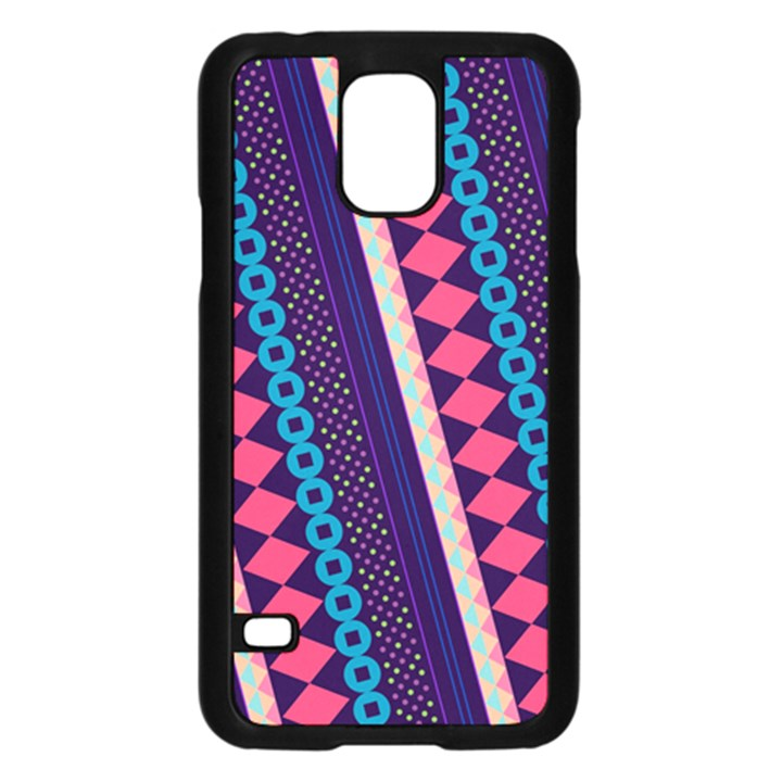 Purple And Pink Retro Geometric Pattern Samsung Galaxy S5 Case (Black)