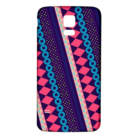 Purple And Pink Retro Geometric Pattern Samsung Galaxy S5 Back Case (White)