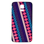 Purple And Pink Retro Geometric Pattern Samsung Galaxy S5 Back Case (White) Front