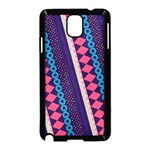 Purple And Pink Retro Geometric Pattern Samsung Galaxy Note 3 Neo Hardshell Case (Black) Front